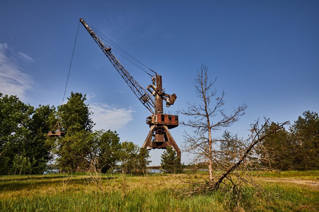 Cargo port Pripyat river abandoned