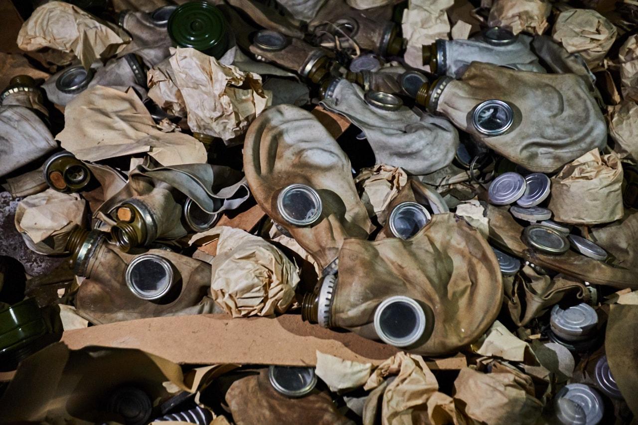 Abandoned gas masks grammar school