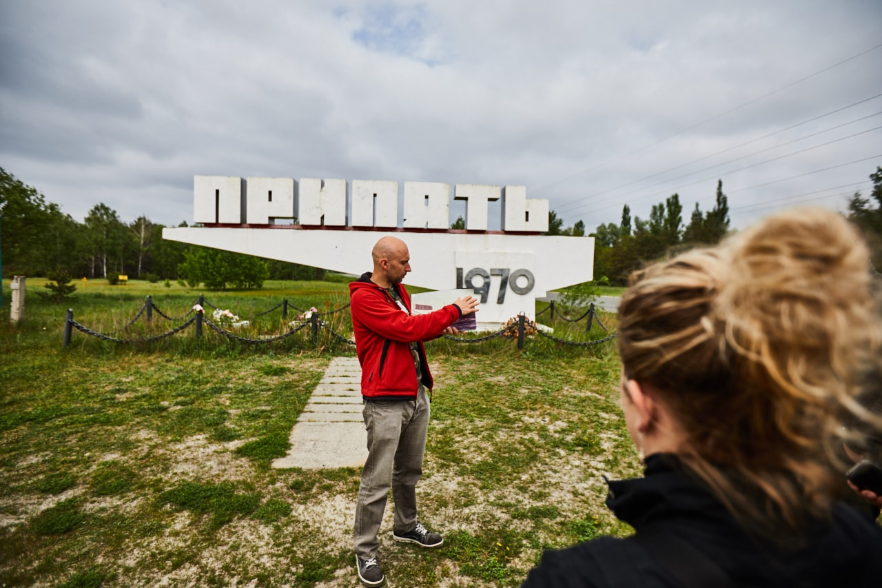 Pripyat city sign photo now statue
