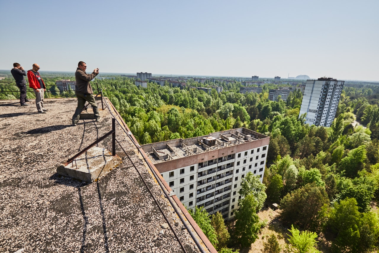 Rooftop view in Pripyat panorama view buildings abandoned