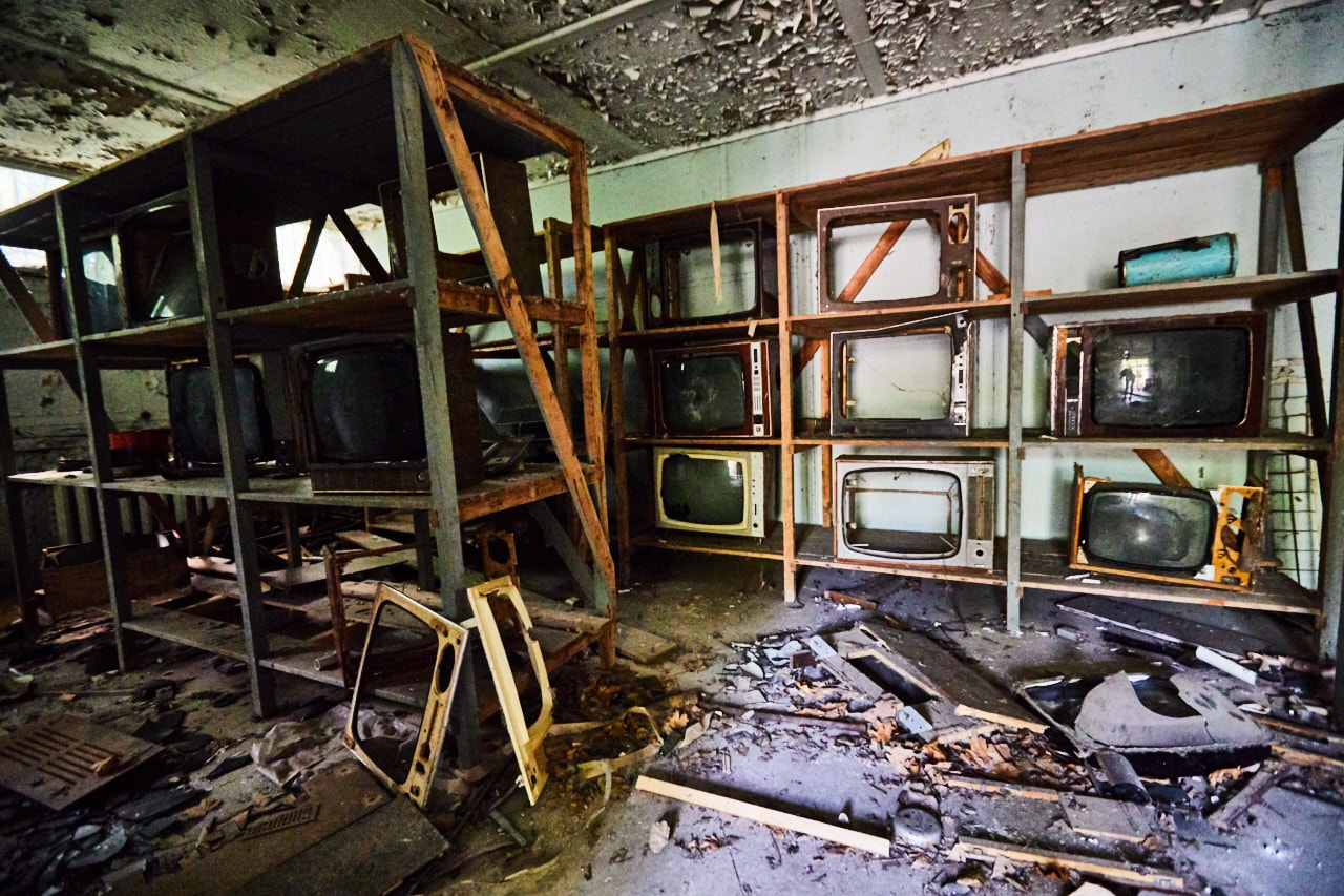 tv store abandoned Pripyat Chernobyl Exclusion Zone